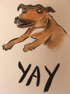 water colour illustration of a staffy