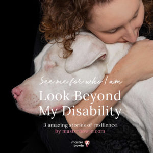 Ann & Marilyn, a deaf and blind rescue dog with double merle gene. Courtesy The Melbourne Portrait Studio.