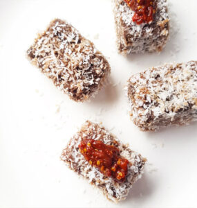 Copyright Master Bowie. Australia Day dog friendly lamingtons with goji berry jam.